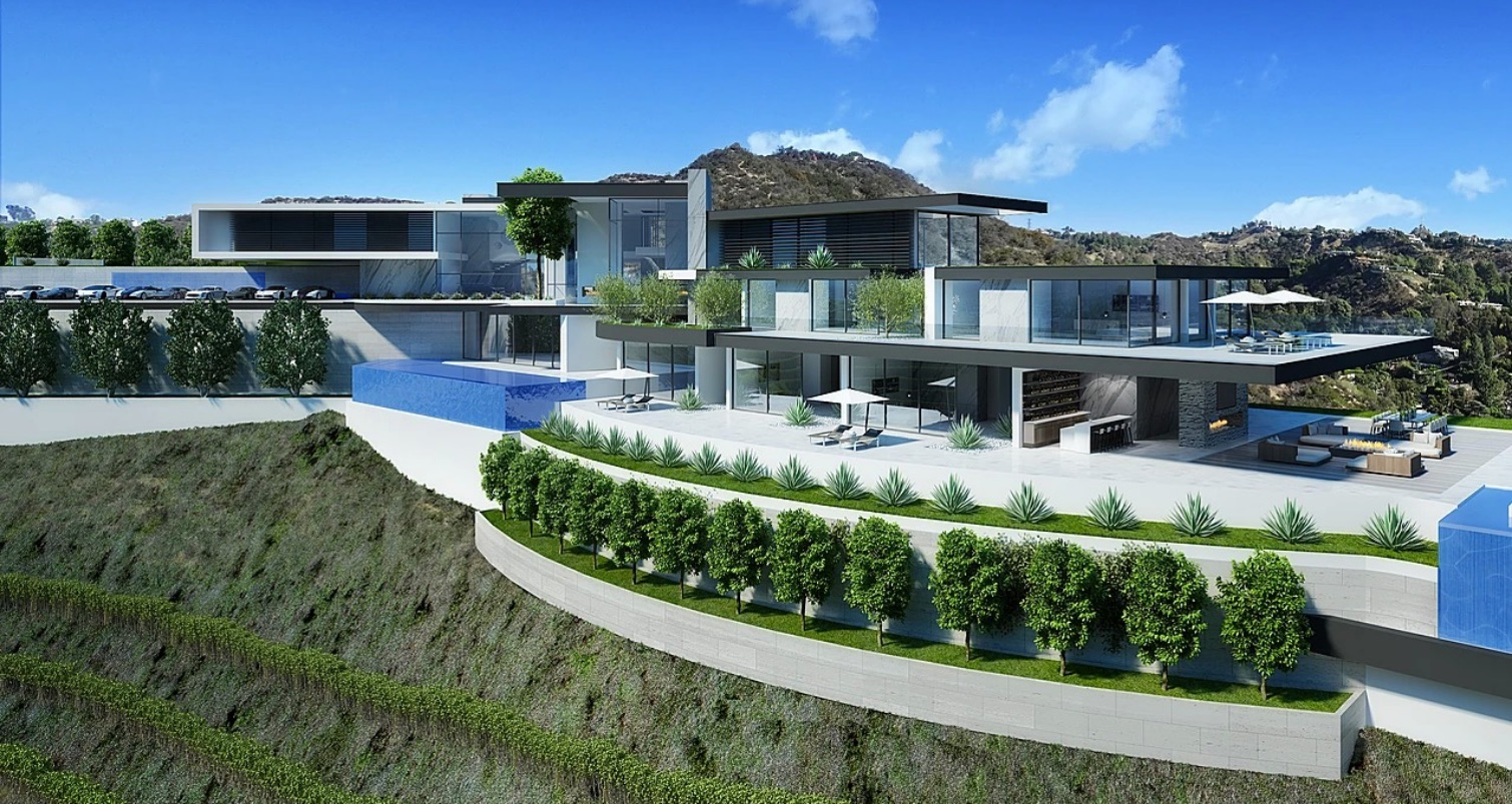 Computer rendering of modern luxury home exterior